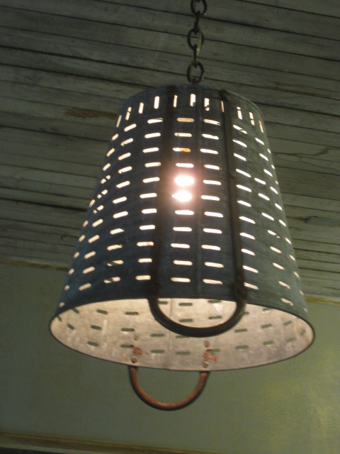 Olive basket chandelier.